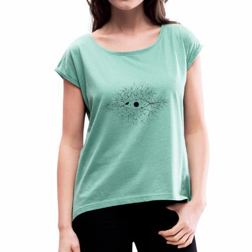 ojo del mundo - Camiseta con manga enrollada mujer