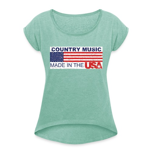 Shirt Country USA - Frauen T-Shirt mit gerollten Ärmeln
