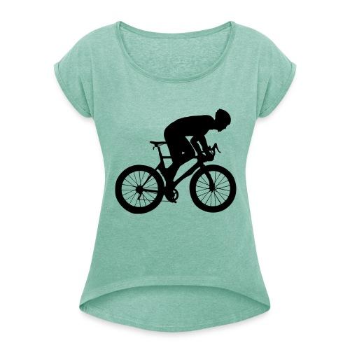 Fahrradfahrer - Frauen T-Shirt mit gerollten Ärmeln