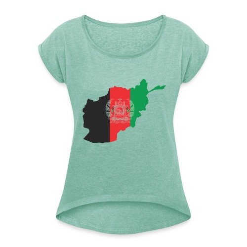 Afghanistan Flag in its Map Shape - Women's T-Shirt with rolled up sleeves