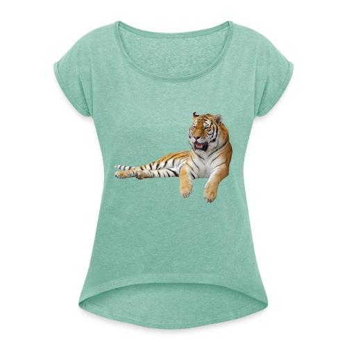 078 - Camiseta con manga enrollada mujer