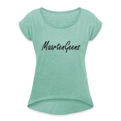 MaartenGeens Zwart - Vrouwen T-shirt met opgerolde mouwen