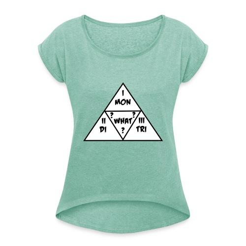 Mon_Di_Tri_What? Black Desert Tri Force - Frauen T-Shirt mit gerollten Ärmeln