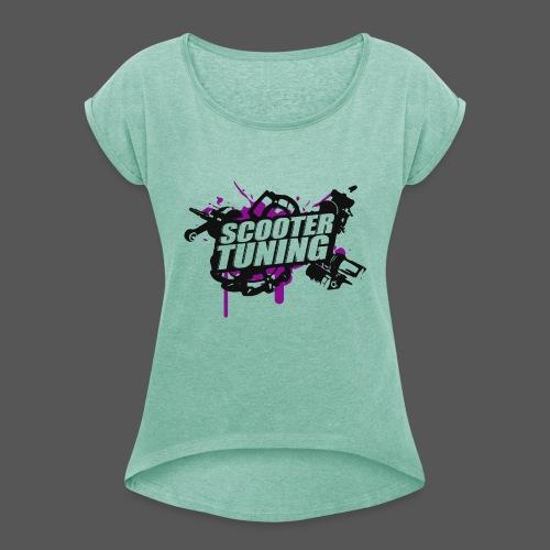 Scootertuning - b/p - Frauen T-Shirt mit gerollten Ärmeln