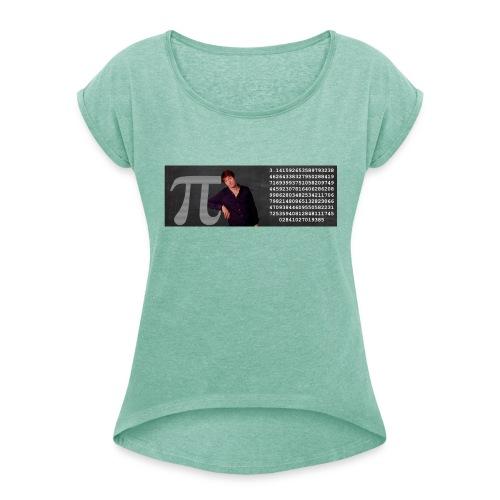 Pi-muggen. Glöm aldrig mer en decimal! - T-shirt med upprullade ärmar dam