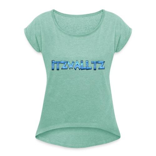 walltz home merch - T-shirt med upprullade ärmar dam