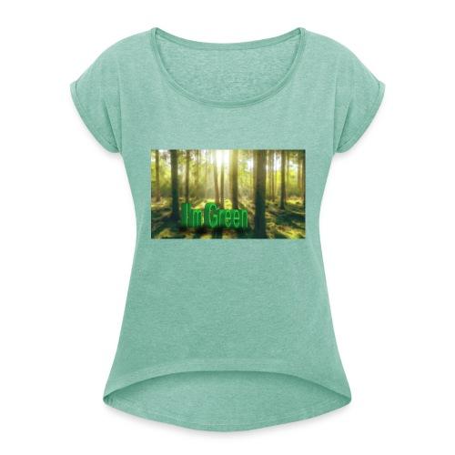 I'm Green. - T-shirt med upprullade ärmar dam