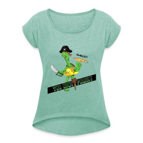 The kiwi family logo - T-skjorte med rulleermer for kvinner