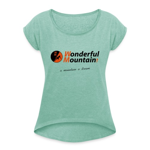 WM SLOGAN - Camiseta con manga enrollada mujer