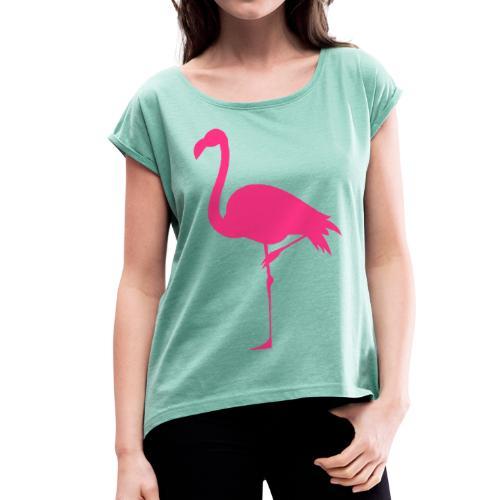 Freaking Flamingo - T-shirt med upprullade ärmar dam