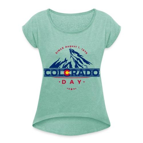 Colorado Day 2018 state flag mountain T shirt - T-shirt à manches retroussées Femme