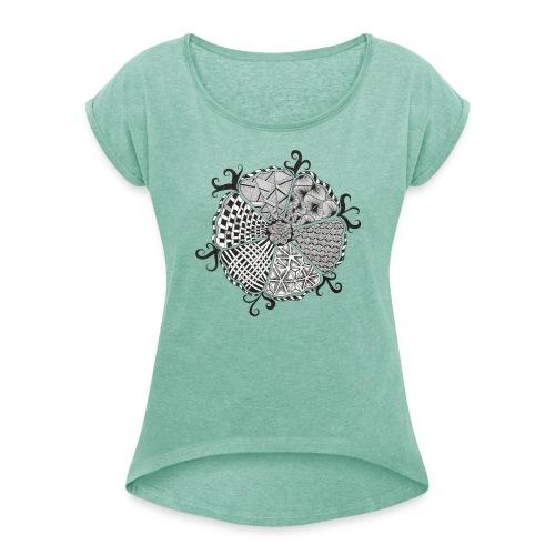 Doodle Blume - Frauen T-Shirt mit gerollten Ärmeln