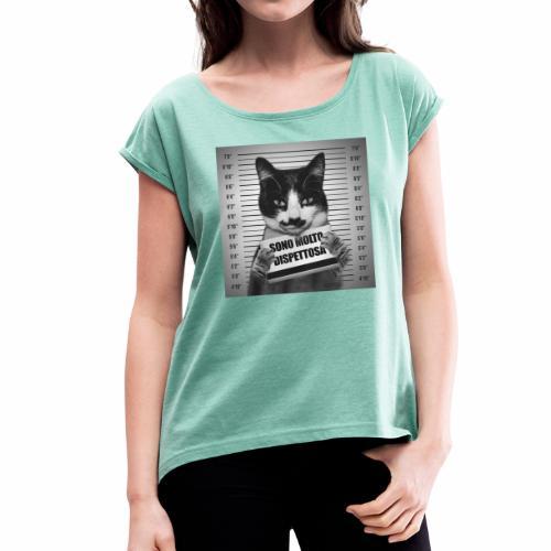 Micia Dispettosa - Maglietta da donna con risvolti