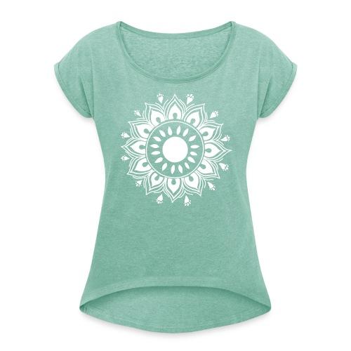 Baby I love yoga! Mandala Monday <3 - T-skjorte med rulleermer for kvinner