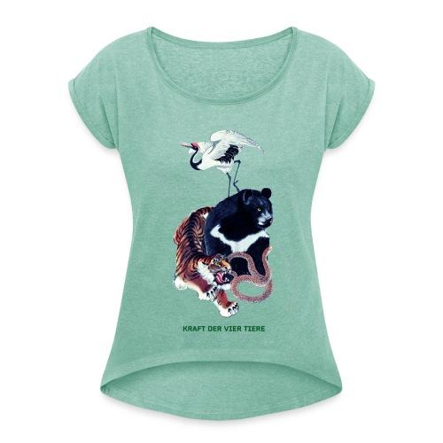Long Ping - Bär, Kranich, Tiger, Schlange - Frauen T-Shirt mit gerollten Ärmeln