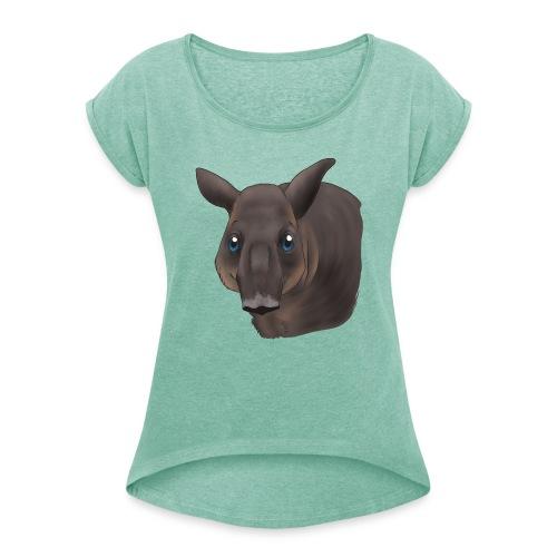 Tapir Portrait - Frauen T-Shirt mit gerollten Ärmeln