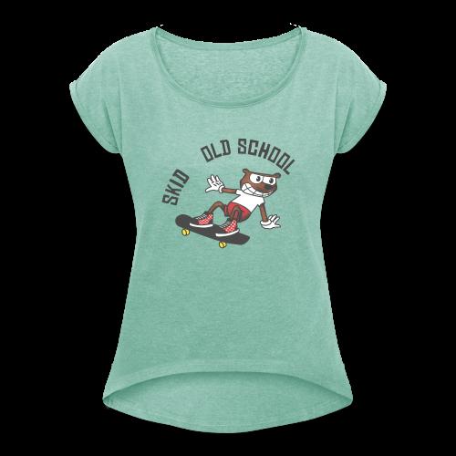 skid cartoon - T-shirt à manches retroussées Femme