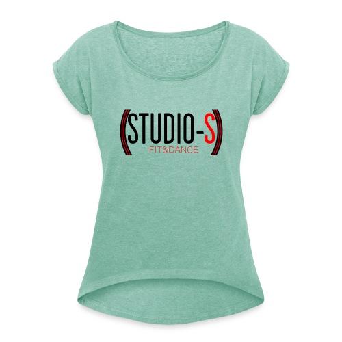 Basic logocut tanktop - Vrouwen T-shirt met opgerolde mouwen