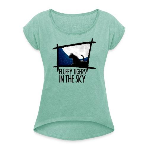 Fluffy Tigers mit Schriftzug - Frauen T-Shirt mit gerollten Ärmeln