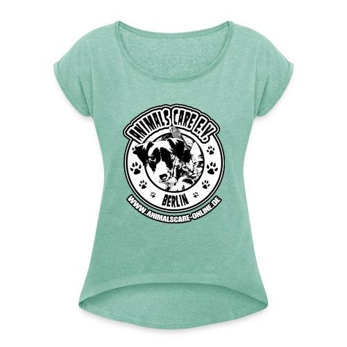 Animals Care Logo - Frauen T-Shirt mit gerollten Ärmeln