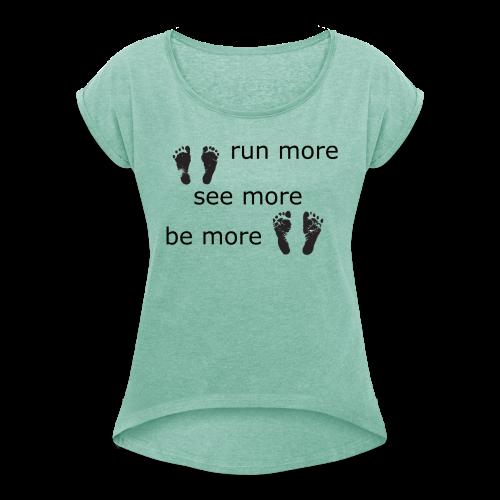 Run Collection - T-skjorte med rulleermer for kvinner