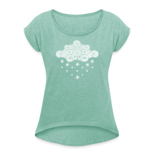 nuage blanc et flocons vacances d'hiver - T-shirt à manches retroussées Femme