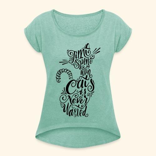 cats bk - Maglietta da donna con risvolti