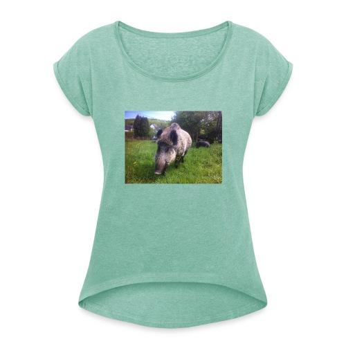 181371_341012232638136_750418921_n - Frauen T-Shirt mit gerollten Ärmeln