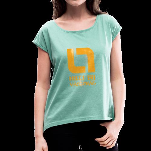 Vintage - T-shirt med upprullade ärmar dam