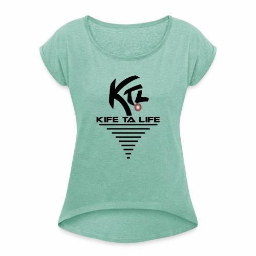 KTL Noir VORTEX - T-shirt à manches retroussées Femme