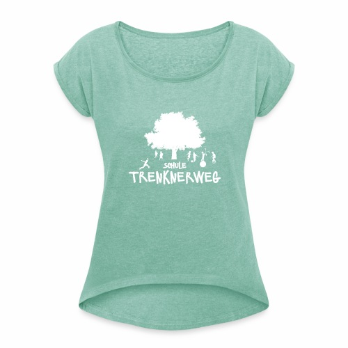 Weißes Logo: nur für grüne Textilien! - Frauen T-Shirt mit gerollten Ärmeln