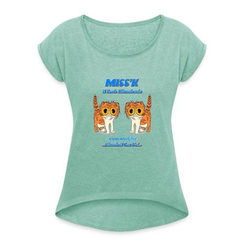 MissK Merchandising - Maglietta da donna con risvolti