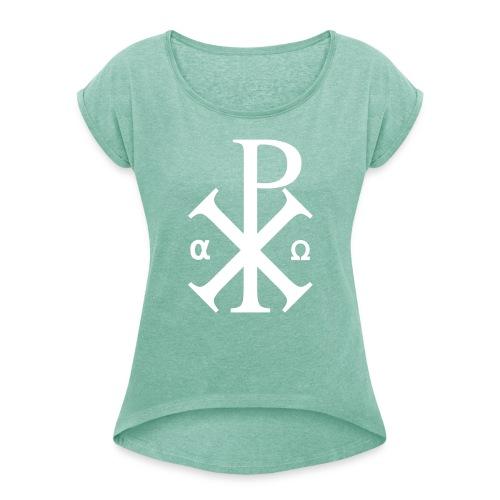 Alpha et Oméga - Jésus Christ - T-shirt à manches retroussées Femme