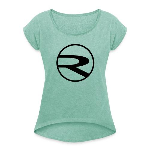 raydas60dc_schwarz-r-einzel_Kreis - Frauen T-Shirt mit gerollten Ärmeln