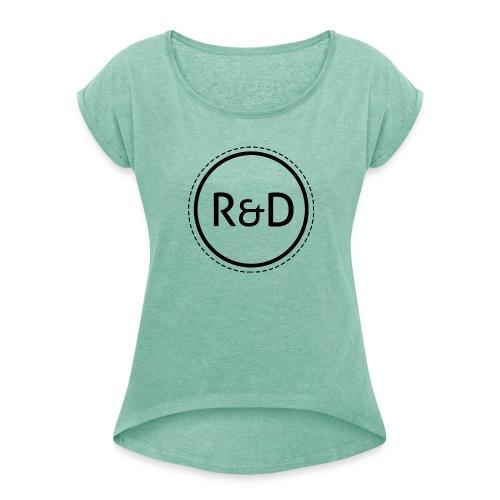 logo_zwart - Vrouwen T-shirt met opgerolde mouwen