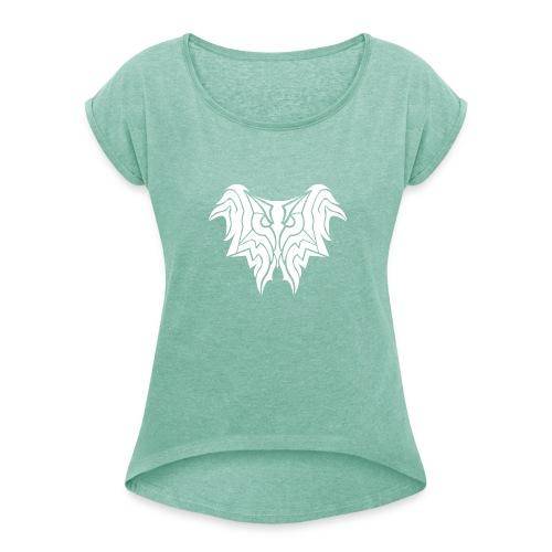 Insane Reactionz Logo weiß - Frauen T-Shirt mit gerollten Ärmeln