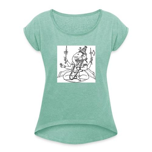 ganesha - Frauen T-Shirt mit gerollten Ärmeln