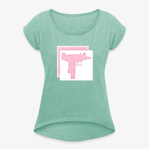 Uzi - Frauen T-Shirt mit gerollten Ärmeln
