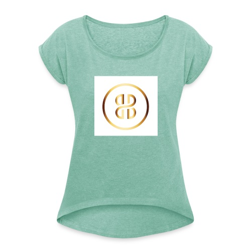 BKI logo circle - Women's T-Shirt with rolled up sleeves