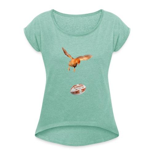 rugbychick - shirt voor meisje rugby shirtsbybart! - Vrouwen T-shirt met opgerolde mouwen