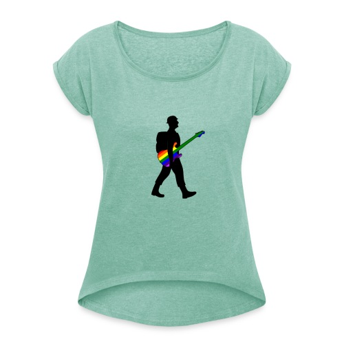 Soldier with a pride guitar - Women's T-Shirt with rolled up sleeves