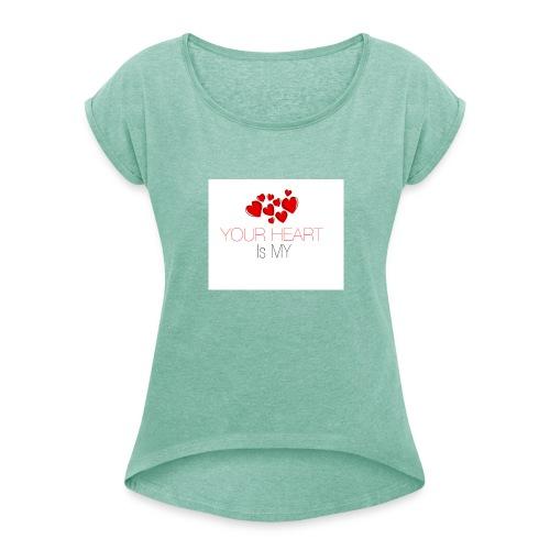 heart - Koszulka damska z lekko podwiniętymi rękawami