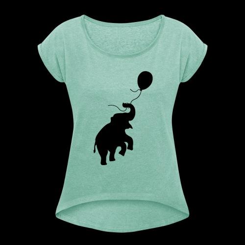 Elefant mit Ballon - Frauen T-Shirt mit gerollten Ärmeln