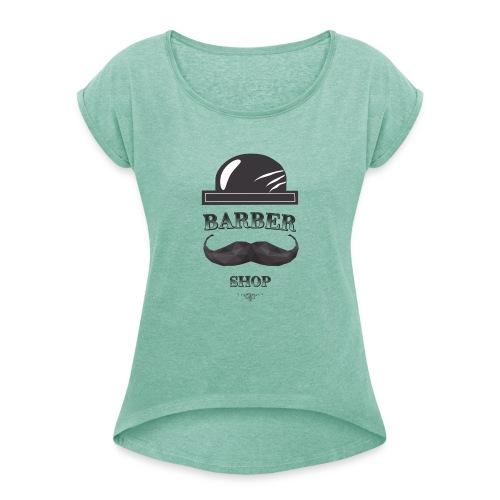 BARBER SHOP 2 - Koszulka damska z lekko podwiniętymi rękawami