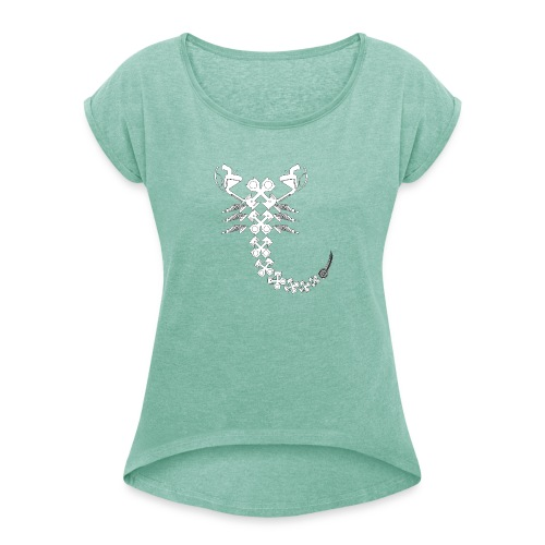 projekty znakow zodiaku moto scorpio - Koszulka damska z lekko podwiniętymi rękawami