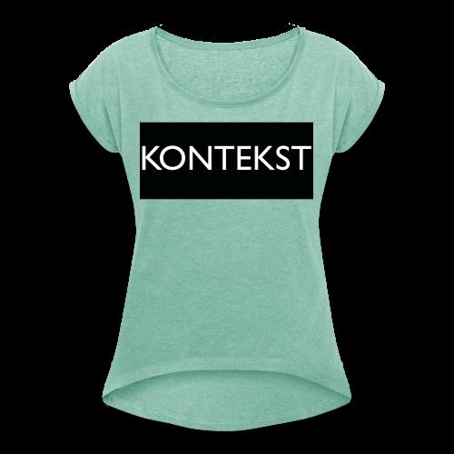 Kontekst Collection - T-skjorte med rulleermer for kvinner