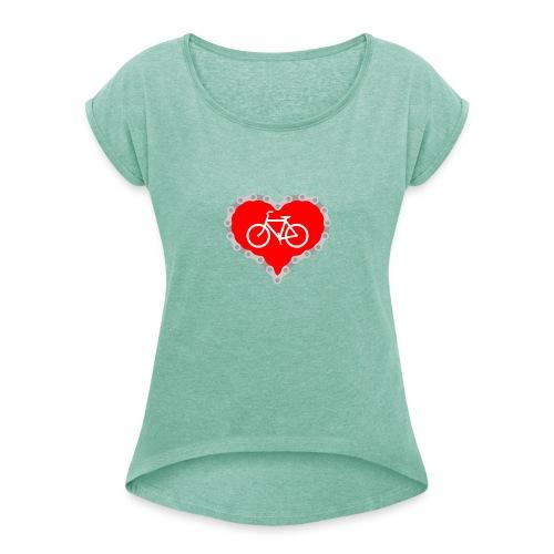 Miłość Biking - Koszulka damska z lekko podwiniętymi rękawami