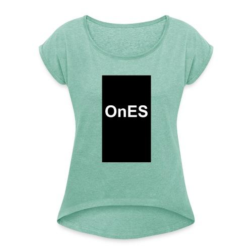 OnES Black - Frauen T-Shirt mit gerollten Ärmeln