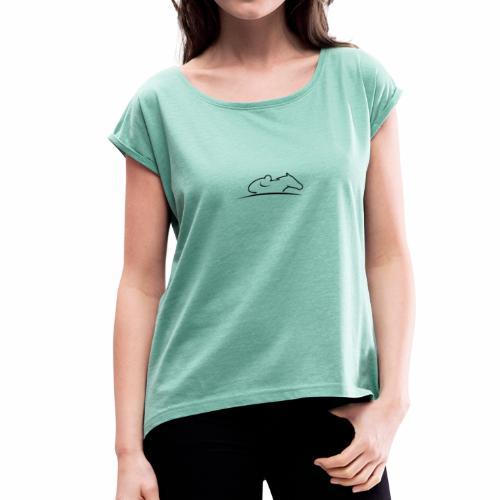 Faszination Galopprennsport - Frauen T-Shirt mit gerollten Ärmeln