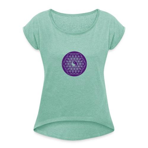 Spiritualität - Lebensblume mit Yin Yang - Frauen T-Shirt mit gerollten Ärmeln